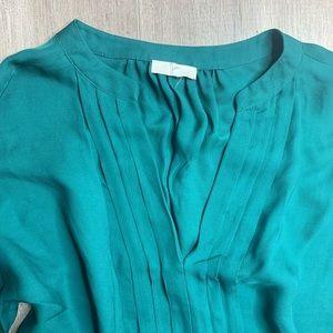 Joie Tops - JOIE   Blue / Green Marru Silk Pleated Blouse M